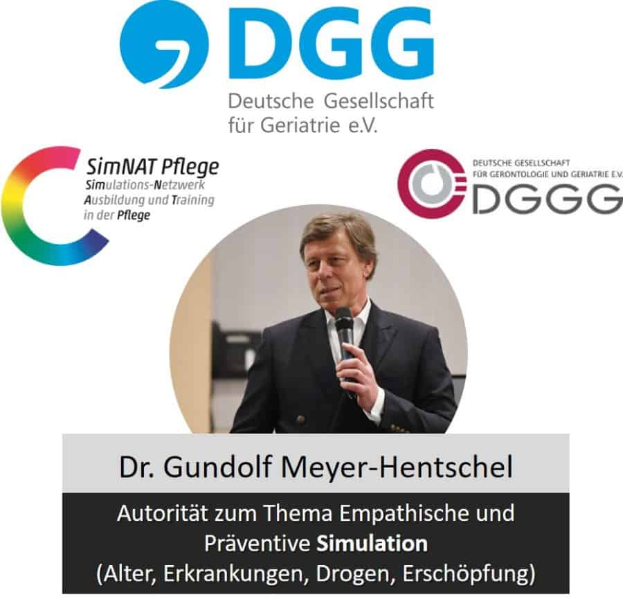 Erfinder Altersanzug Gundolf Meyer-Hentschel ist Mitglied in renommierten Fachgesellschaften und gilt als Autorität auf dem Gebiet der empathischen Simulation