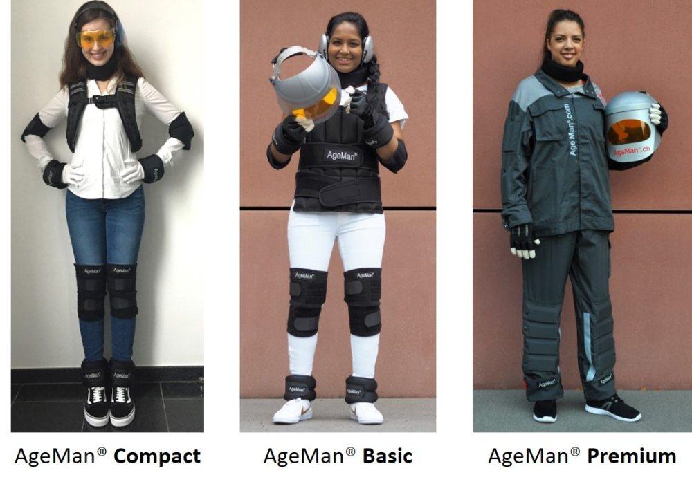 Den Alterssimulationsanzug AgeMan gibt es in drei verschiedenen Ausführungen / Modellen