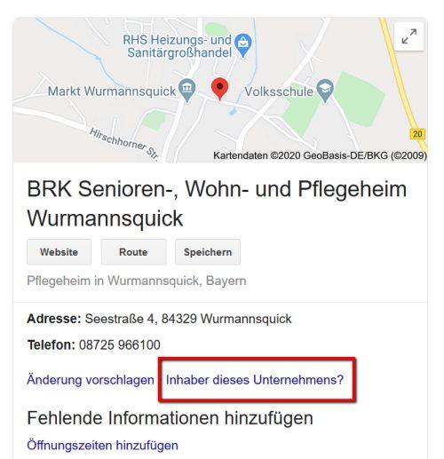 Google My Business Eintrag für ein Pflegeheim