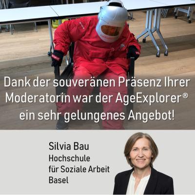 Statement zu Alterssimulationsanzug mieten von silvia bau Hochschule Soziale Arbeit, Basel