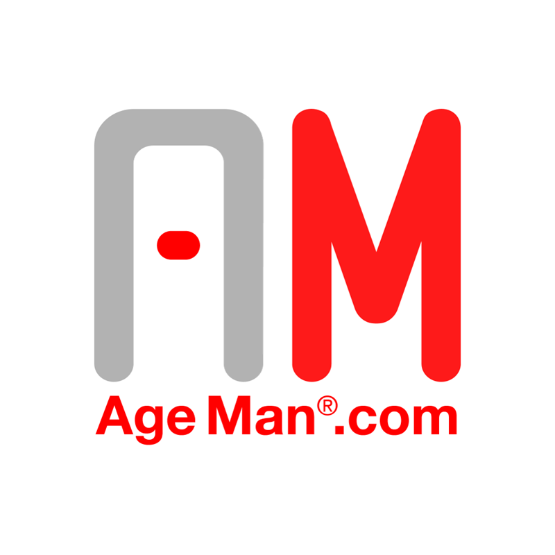 Logo Altersanzug AgeMan graues A, rotes M