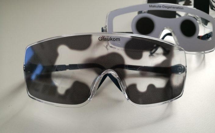 Brillen zur Simulation von Augenerkrankungen, z.B. Glaukom