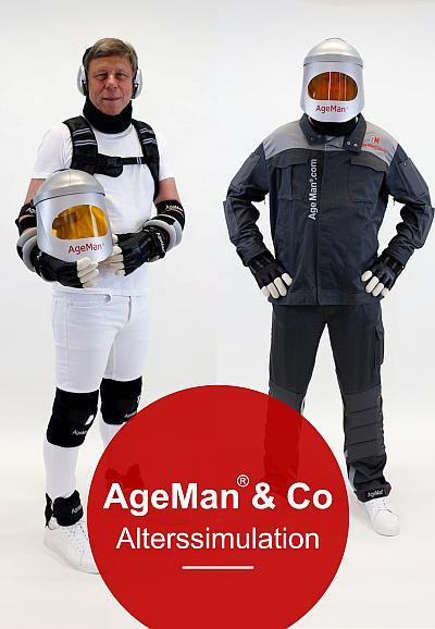 Alterssimulationsanzug Ageman Leasing: Cover Produktkatalog AgeMan & Co